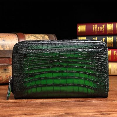 Handcrafted Mens Alligator Leather Zipper Long Wallet Business Hand Clutch Phone Holder-Green