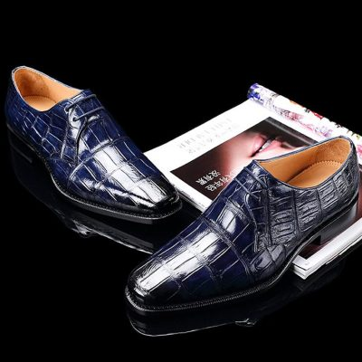 Handcrafted Men's Premium Alligator Skin Derby Shoes-Blue