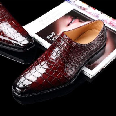 Handcrafted Men's Premium Alligator Skin Derby Shoes-Burgundy