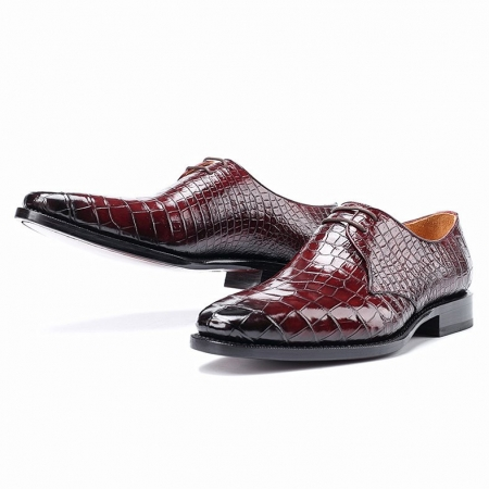 Handcrafted Men's Premium Alligator Skin Derby Shoes-Burgundy-Display