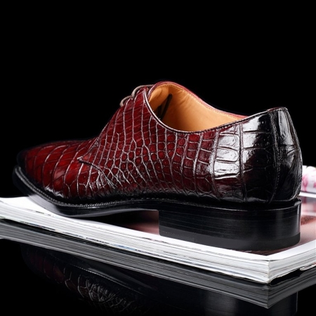 Handcrafted Men's Premium Alligator Skin Derby Shoes-Burgundy-Heel