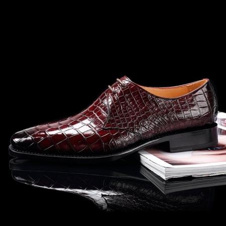 Handcrafted Men's Premium Alligator Skin Derby Shoes-Burgundy-Side