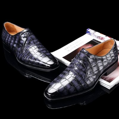 Handcrafted Men's Premium Alligator Skin Derby Shoes-Gray