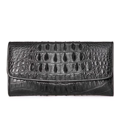 Ladies Crocodile Leather Flap Clutch Long Bi-fold Wallet Travel Purse-Black-Back Skin
