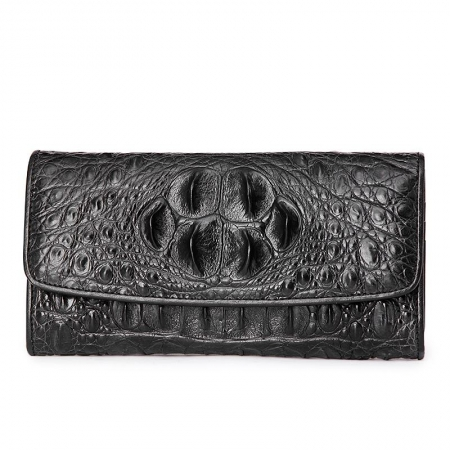 Ladies Crocodile Leather Flap Clutch Long Bi-fold Wallet Travel Purse-Black-Head Skin
