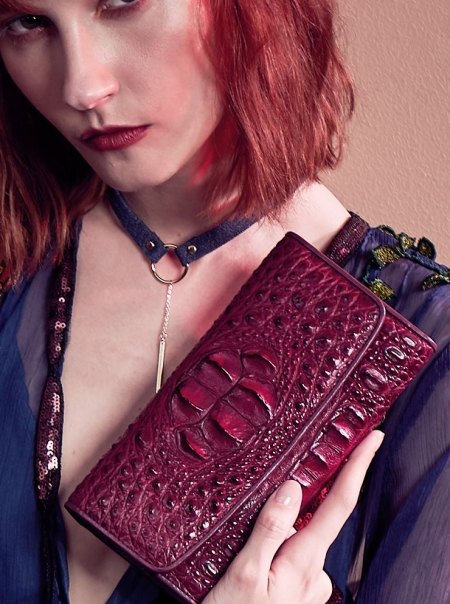 Ladies Crocodile Leather Flap Clutch Long Bi-fold Wallet Travel Purse-Burgundy-Display