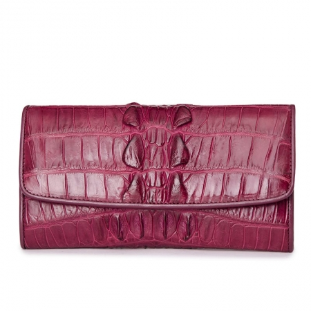 Ladies Crocodile Leather Flap Clutch Long Bi-fold Wallet Travel Purse-Burgundy-Tail-Skin