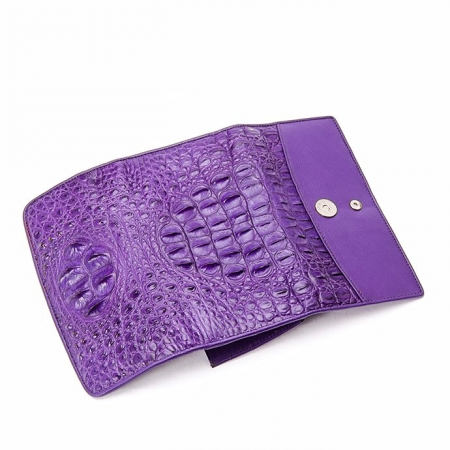 Ladies Crocodile Leather Flap Clutch Long Bi-fold Wallet Travel Purse-Details