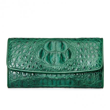Ladies Crocodile Leather Flap Clutch Long Bi-fold Wallet Travel Purse-Green-Head Skin