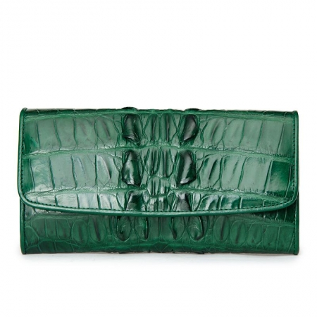 Ladies Crocodile Leather Flap Clutch Long Bi-fold Wallet Travel Purse-Green-Tail Skin