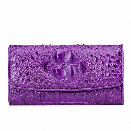 Ladies Crocodile Leather Flap Clutch Long Bi-fold Wallet Travel Purse-Purple-Head Skin