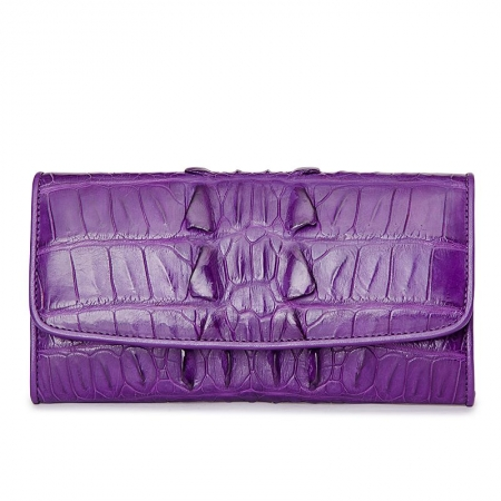 Ladies Crocodile Leather Flap Clutch Long Bi-fold Wallet Travel Purse-Purple-Tail-Skin