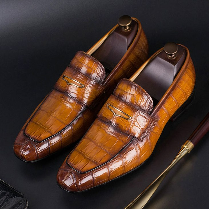 Luxury Alligator Skin Slip-On Loafers for Men-Brown