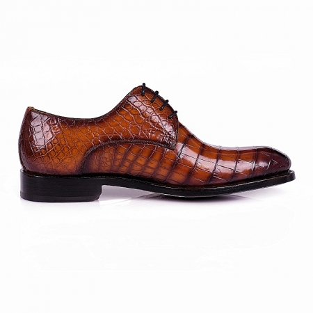 Men's Genuine Alligator Leather Derby Shoes in Goodyear Welt-Brown