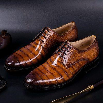Men's Genuine Alligator Leather Derby Shoes in Goodyear Welt
