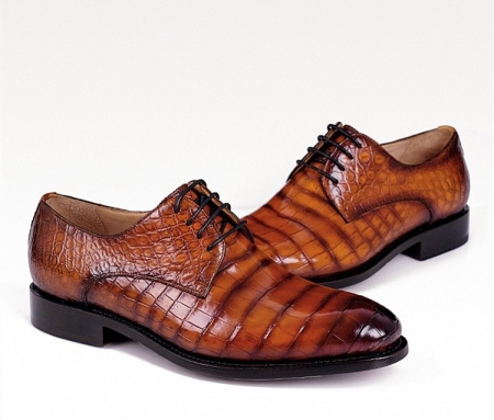 Men's Genuine Alligator Leather Derby Shoes in Goodyear Welt-Display