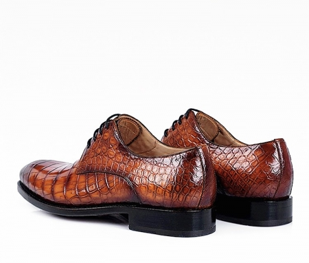 Men's Genuine Alligator Leather Derby Shoes in Goodyear Welt-Heel