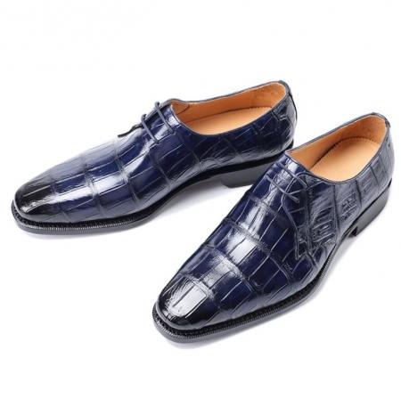 Men's Premium Alligator Skin Derby Shoes-Blue