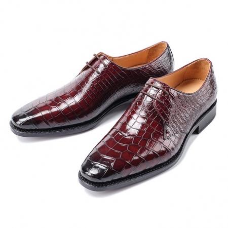 Men's Premium Alligator Skin Derby Shoes-Burgundy
