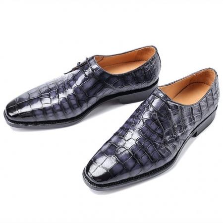 Men's Premium Alligator Skin Derby Shoes-Gray