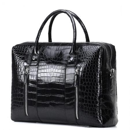 Shiny Black Alligator Briefcase Messenger Bag Business Office Bag