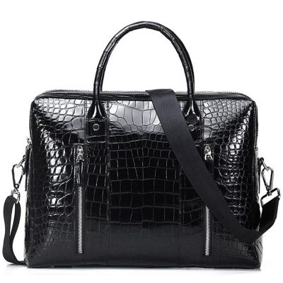 Shiny Black Alligator Briefcase Messenger Bag Business Office Bag for Men