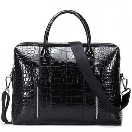 Shiny Black Alligator Briefcase Messenger Bag Business Office Bag for Men