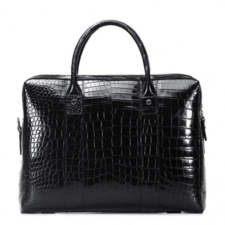 Shiny Black Alligator Briefcase Messenger Bag Business Office Bag for Men-Back