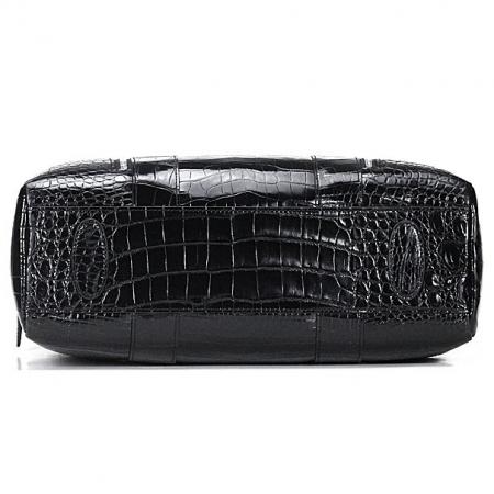 Shiny Black Alligator Briefcase Messenger Bag Business Office Bag for Men-Bottom
