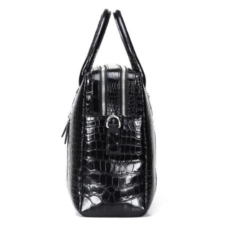 Shiny Black Alligator Briefcase Messenger Bag Business Office Bag for Men-Side