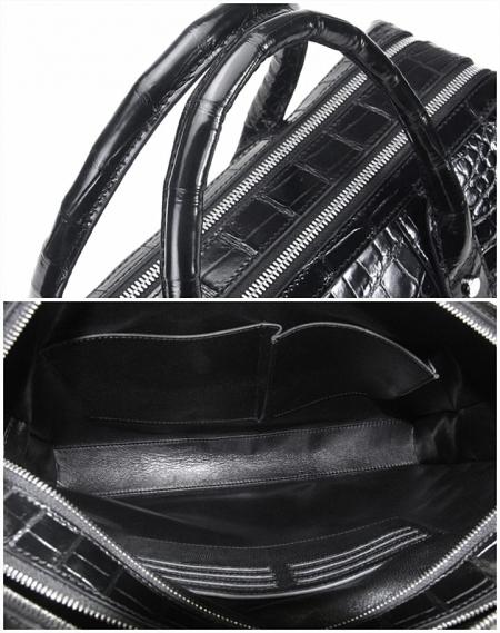 Shiny Black Alligator Briefcase Messenger Bag Business Office Bag for MenDetails