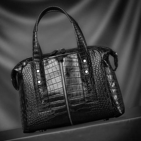 Unisex Alligator Leather Briefcase, Alligator Shoulder Handbag-Display-2