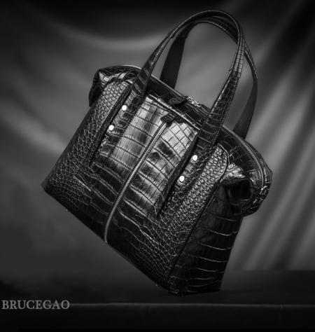 Unisex Alligator Leather Briefcase, Alligator Shoulder Handbag-Display-3