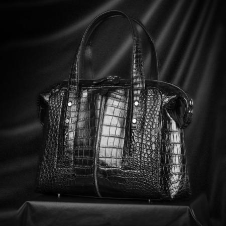 Unisex Alligator Leather Briefcase, Alligator Shoulder Handbag-Display