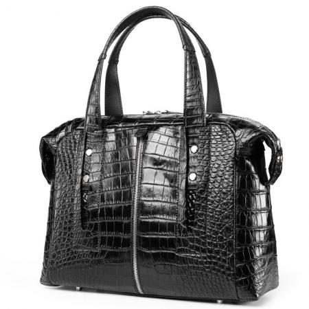 Unisex Alligator Leather Briefcase, Alligator Shoulder Handbag-Front