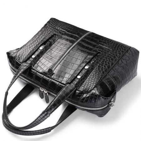 Unisex Alligator Leather Briefcase, Alligator Shoulder Handbag-Handle