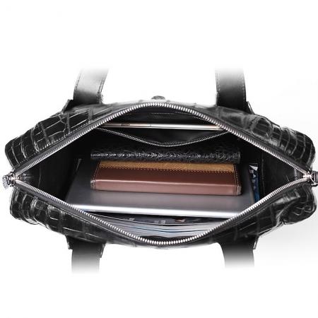 Unisex Alligator Leather Briefcase, Alligator Shoulder Handbag-Inner