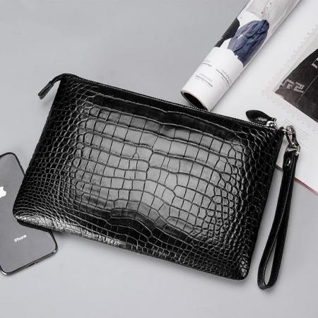 Alligator Envelope Clutch Bag Business Portfolio Briefcase Large Wallet With Strap-Black-Display