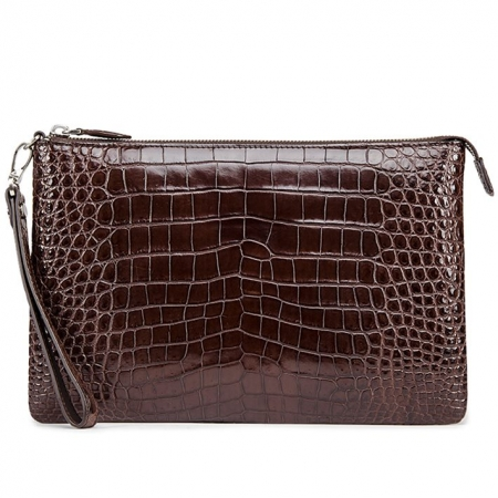 Alligator Envelope Clutch Bag Business Portfolio Briefcase Large Wallet With Strap-Brown