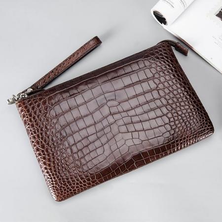 Alligator Envelope Clutch Bag Business Portfolio Briefcase Large Wallet With Strap-Brown-Display