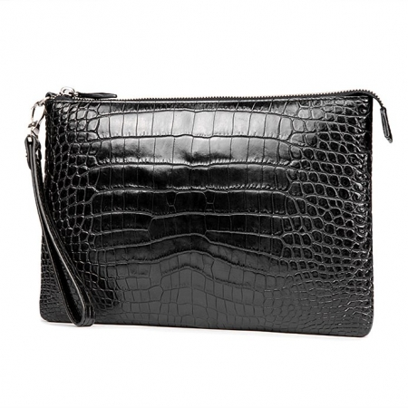 Alligator Envelope Clutch Bag Business Portfolio Briefcase Large Wallet With Strap-Micro Side