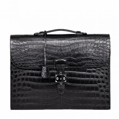 Alligator Leather Briefcase Laptop Bag Messenger Bag with Lock