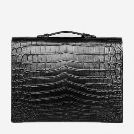 Alligator Leather Briefcase Laptop Bag Messenger Bag with Lock-Back
