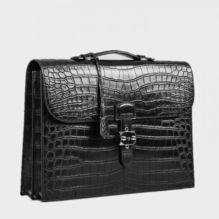 Alligator Leather Briefcase Laptop Bag Messenger Bag with Lock-Side