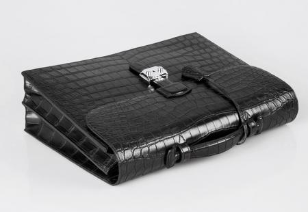 Alligator Leather Briefcase Laptop Bag Messenger Bag with Lock-Top Handle