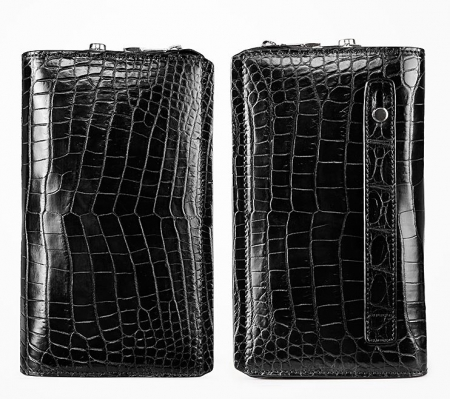 Alligator Leather Wallet Business Alligator Clutch With Lock-Details