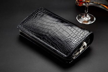 Alligator Leather Wallet Business Alligator Clutch With Lock-Display-1