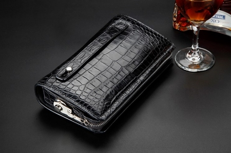 Alligator Leather Wallet Business Alligator Clutch With Lock-Display-2