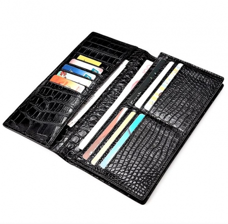 Alligator Multi-Card Long Bifold Wallet Alligator Suit Wallet for Men-Black-Inside