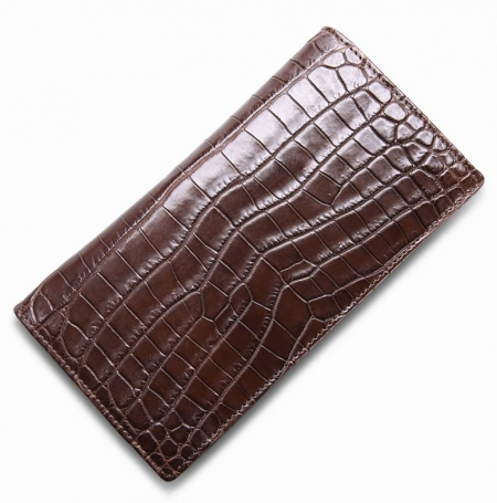 Alligator Multi-Card Long Bifold Wallet Alligator Suit Wallet for Men-Brown